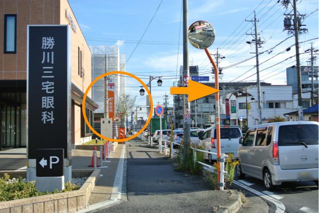 左手に春日井郵便局のある交差点で南方面へ右折し、旧国道19号へ入る。
